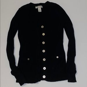 WHBM black cardigan with silver buttons